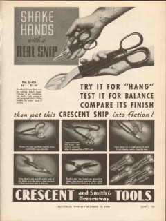 crescent tool company 1936 shake hands real snip action vintage ad