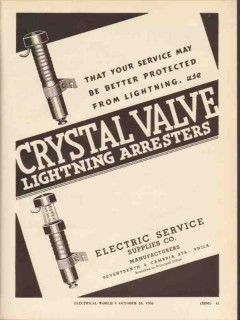 electric service supplies co 1936 crystal valve arresters vintage ad