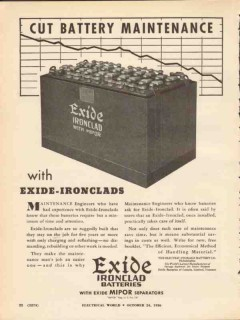 electric storage battery co 1936 cut maintenance ironclads vintage ad