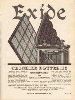 electric storage battery co 1936 exide chloride batteries vintage ad