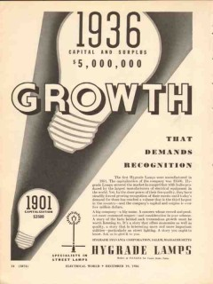 hygrade sylvania corp 1936 growth recognition street lamps vintage ad