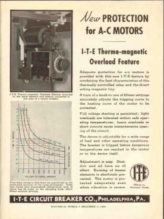 i-t-e circuit breaker company 1936 protection a-c motors vintage ad