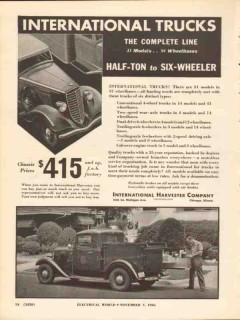 international harvester 1936 half-ton six-wheeler trucks vintage ad