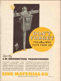 line material company 1936 forget distribution transformers vintage ad