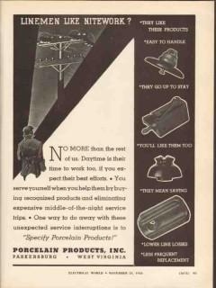porcelain products inc 1936 linemen nitework electric power vintage ad