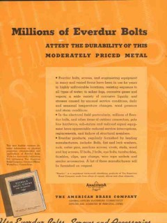 american brass company 1936 copper alloy everur metal bolts vintage ad