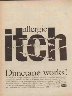 a h robins company 1959 dimetane allergic itch medical vintage ad