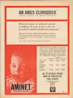 ames company 1959 aminet cliniquick asthma attack medical vintage ad