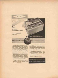 burdick corp 1959 dual-speed electrocardiograph medical vintage ad