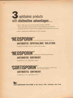 burroughs wellcome company 1959 neosporin ophthalmic vintage ad