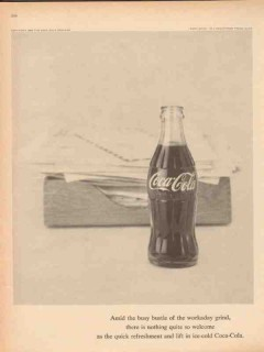 coca cola 1959 busy bustle workaday grind refreshment lift vintage ad