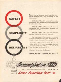 hynson westcott dunning inc 1959 bromsulphalein medical vintage ad