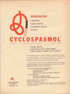 ives-cameron company 1959 cyclospasmol vascular medical vintage ad