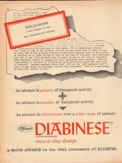 pfizer laboratories 1959 diabinese diabetes oral medical vintage ad