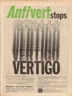 j b roerig 1959 antivert vertigo pfizer company medical vintage ad