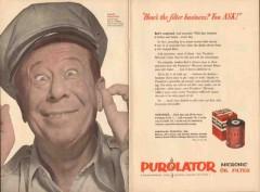 purolator products inc 1952 bert lahr filter business ask vintage ad