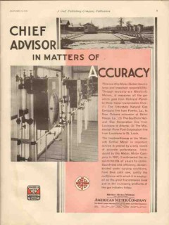 American Meter Company 1931 Vintage Ad Chief Advisor Matters Accuracy