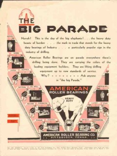 American Roller Bearing Company 1931 Vintage Ad Big Parade Elephants