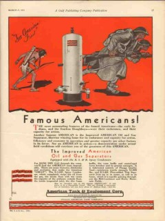 American Tank Equipment Co 1931 Vintage Ad Famous Americans Oil Gas