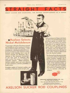 Axelson Mfg Company 1931 Vintage Ad Oil Gas Nickel Molybdenum