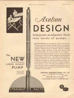 Axelson Mfg Company 1931 Vintage Ad Oil Design Liner Insert Pump