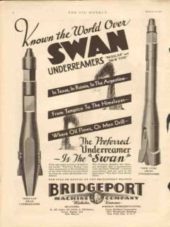 Bridgeport Machine Company 1931 Vintage Ad Oil Field Swan Underreamer