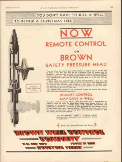 Brown Well Control Company 1931 Vintage Ad Oil Remote Christmas Tree