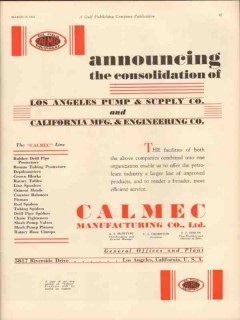 Calmec Mfg Company 1931 Vintage Ad Los Angeles Pump Supply Engineering