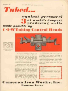 Cameron Iron Works 1931 Vintage Ad Oil Tubed Pressure Control Head