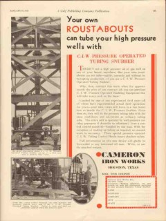 Cameron Iron Works 1931 Vintage Ad Oil Roustabouts High Pressure Wells