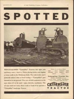 Caterpillar Tractor Company 1931 Vintage Ad Oil Winch-Equipped Spotted