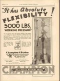 Champion Barber Inc 1931 Vintage Ad Oil Flexibility Working Pressure