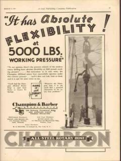 Champion Barber Inc 1931 Vintage Ad Oil Flexibility Working Pressure