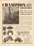 Champion Barber Inc 1931 Vintage Ad Oil All-Steel Rotary Hose Greatest