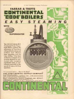 Continental Supply Company 1931 Vintage Ad Oil Code Superheater Boiler