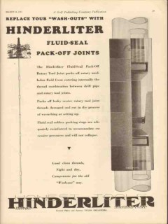 Hinderliter Tool Company 1931 Vintage Ad Oilfield Wash-Outs Fluid Seal
