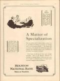 houston national bank 1931 specialization oilfield finance vintage ad