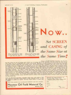 Houston Oil Field Material Company 1931 Vintage Ad Screen Casing Now
