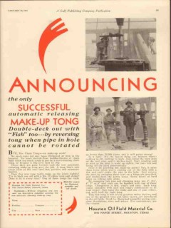 Houston Oil Field Material Company 1931 Vintage Ad Make-Up Tong Tool