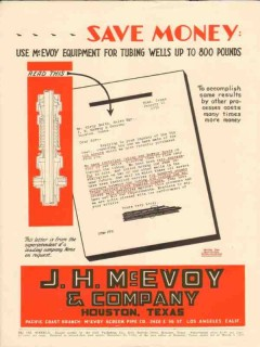 J H McEvoy Company 1931 Vintage Ad Oil Field Tubing Wells Save Money