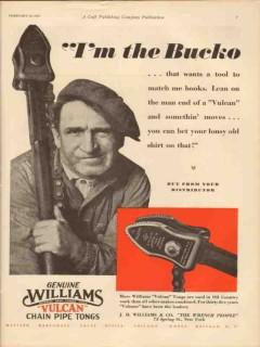 J H Williams Company 1931 Vintage Ad Oil Field Chain Pipe Tongs Bucko