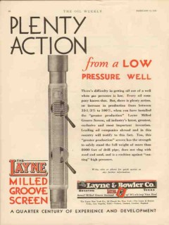 Layne Bowler Company 1931 Vintage Ad Oil Field Well Action Pressure