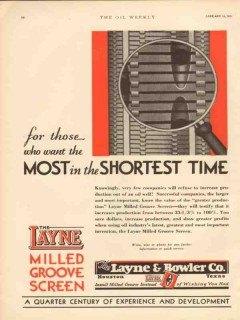 Layne Bowler Company 1931 Vintage Ad Oil Field Shortest Time Most