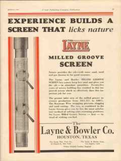 Layne Bowler Company 1931 Vintage Ad Oil Field Screen Experience