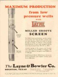 Layne Bowler Company 1931 Vintage Ad Oil Wells Maximum Production