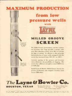 Layne Bowler Company 1931 Vintage Ad Oil Wells Maximum Production