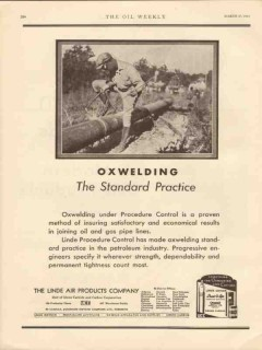 Linde Air Products Company 1931 Vintage Ad Oil Pipeline Weld Oxwelding