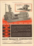 Lucey Products Corp 1931 Vintage Ad Oil Field Power Slush Pump