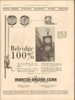 Martin-Decker Corp 1931 Vintage Ad Oil Field Weight Indicator Belridge
