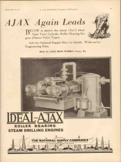Ajax Iron Works 1931 Vintage Ad Engine Twin Cylinder Roller Bearing